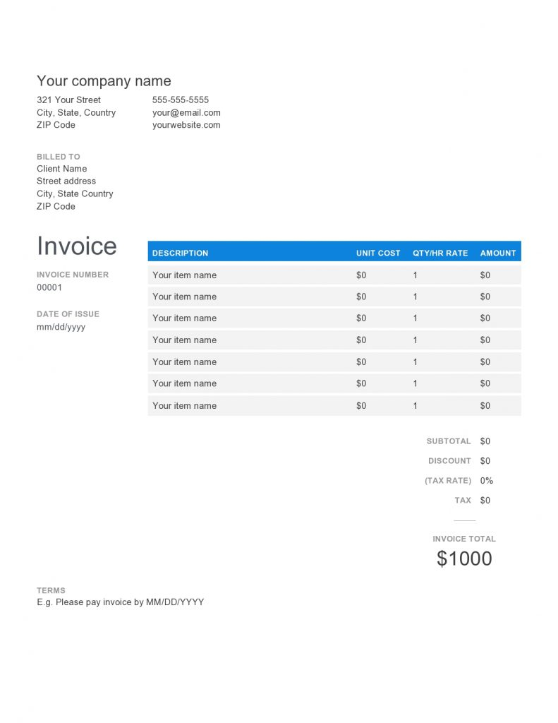 electronic invoices templates