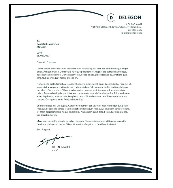 letterhead business letter