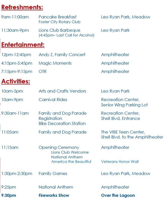 Standard Event Schedule