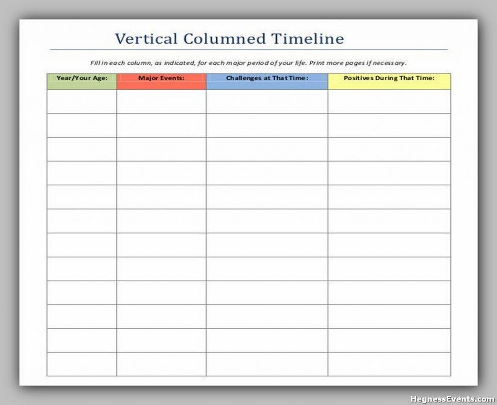 Vertical Columned Timeline