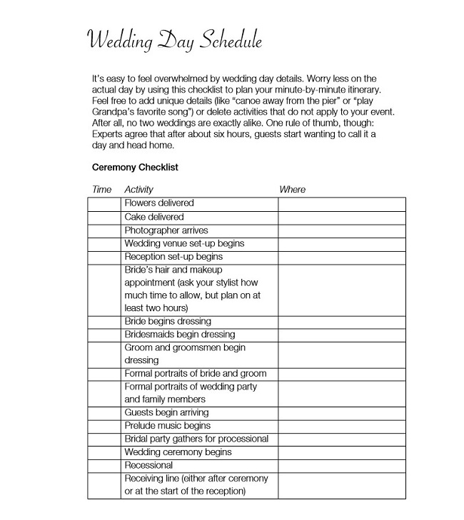 Wedding Event Schedule Template