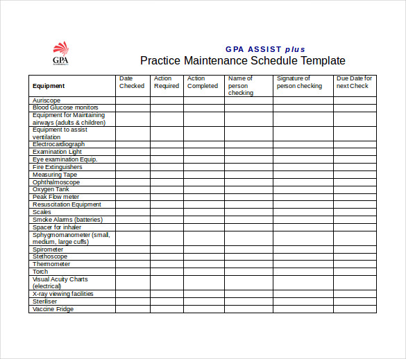 maintenance schedule template gpa practice maintenance schedule word template free download