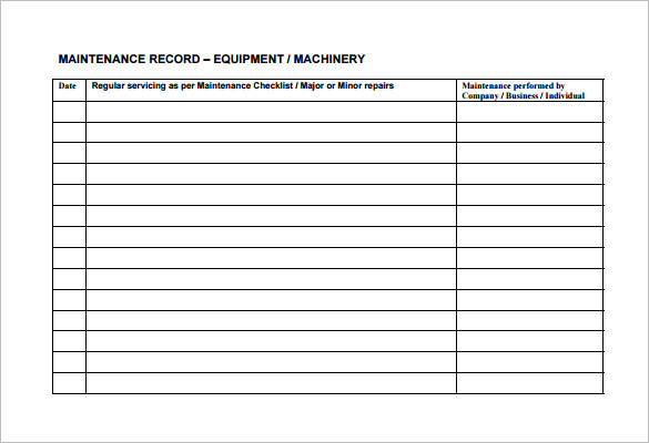 maintenance schedule template machine maintenance schedule template free download