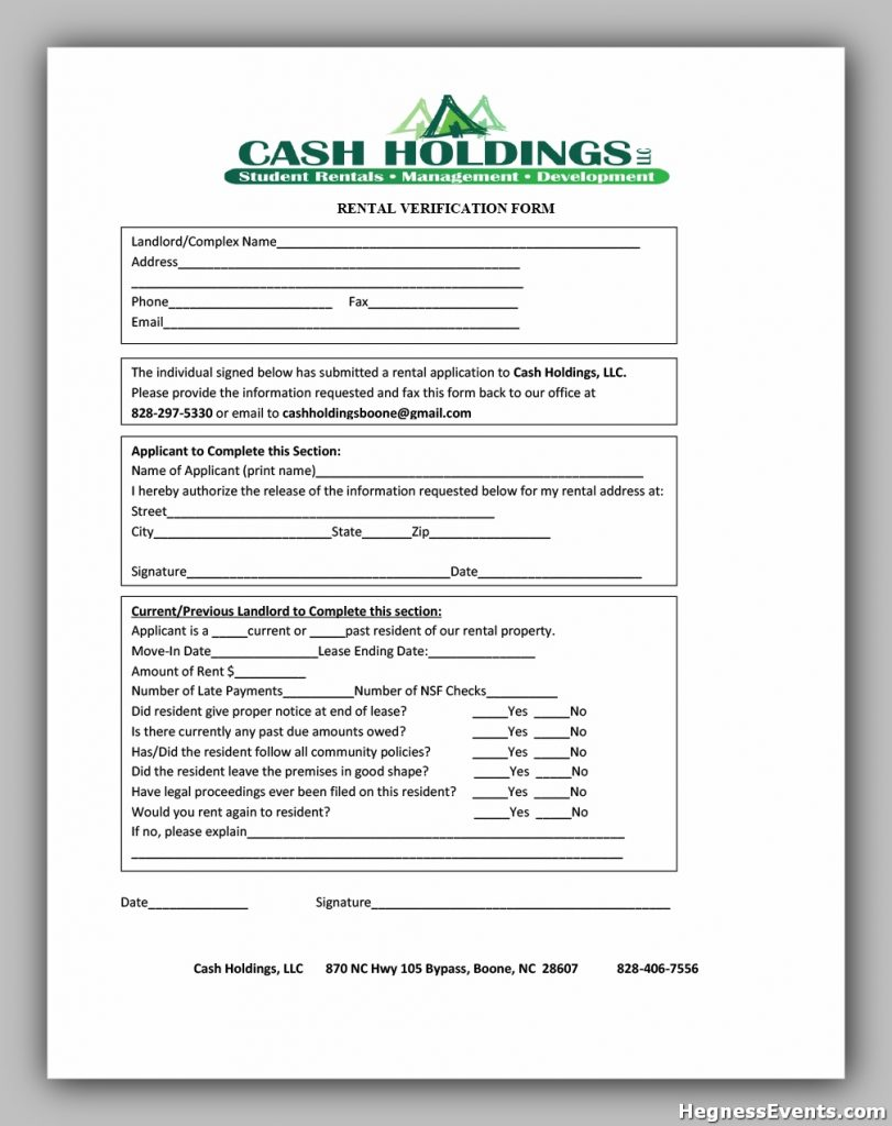 rental verification form 10