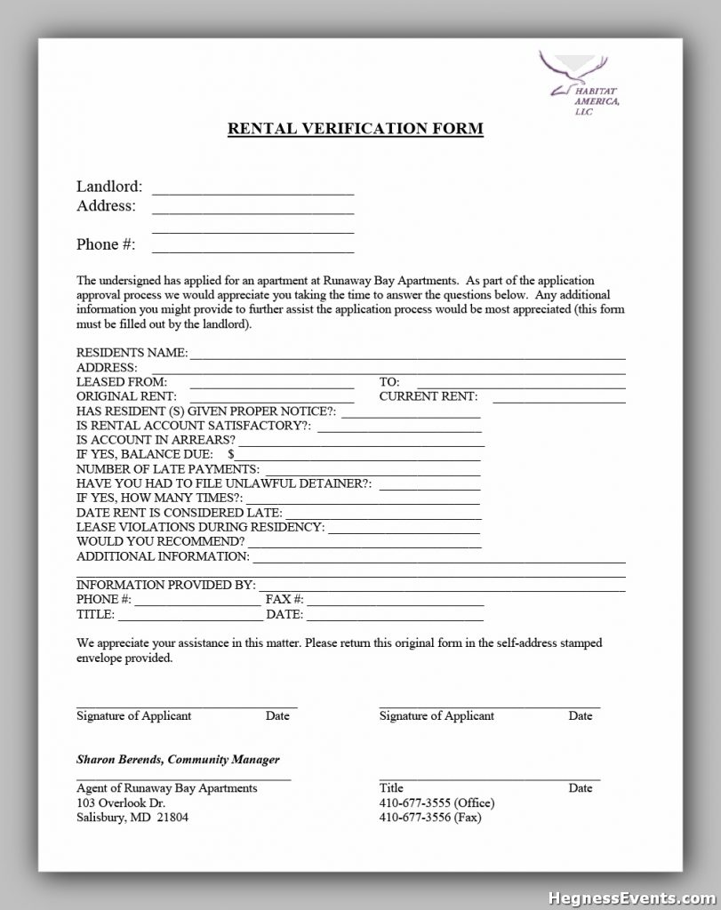 rental verification form 23