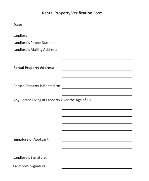 Sample Rental Verification Form