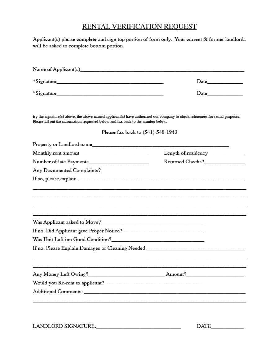 Rental Verification Forms (for Landlord or Tenant) Template