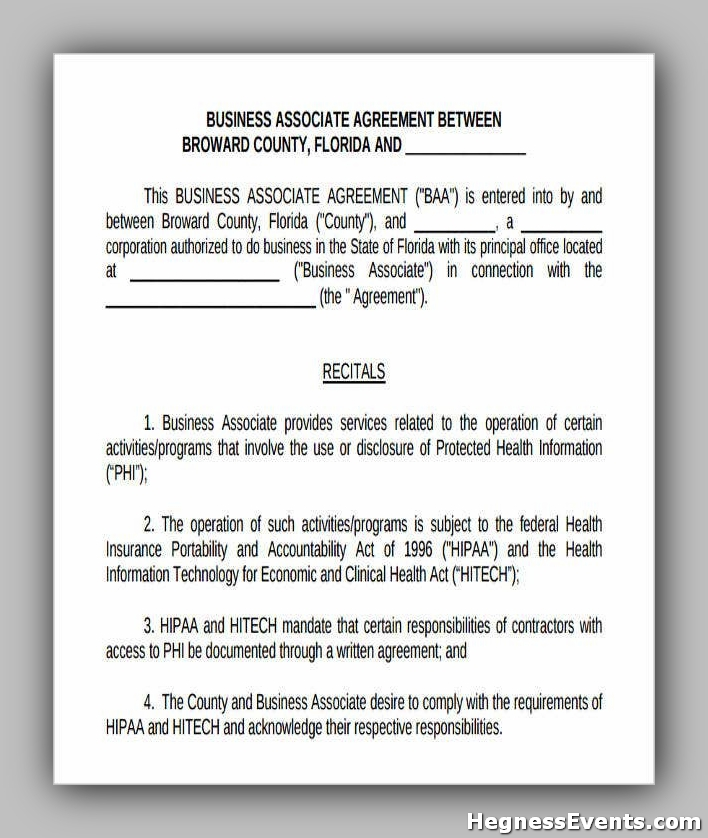 Agreement Form for Business Associate