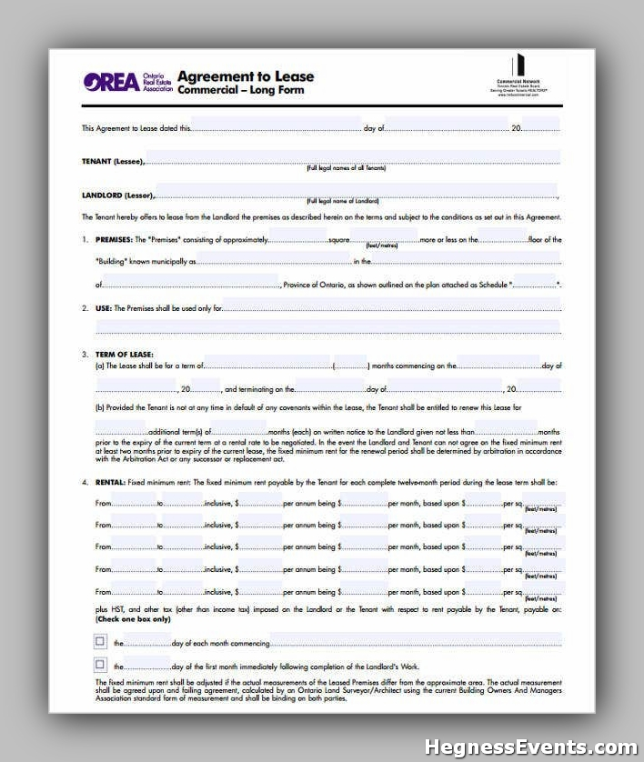 Agreement Form for Commercial Lease
