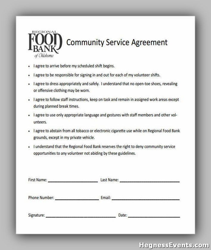 Agreement Form for Community Service