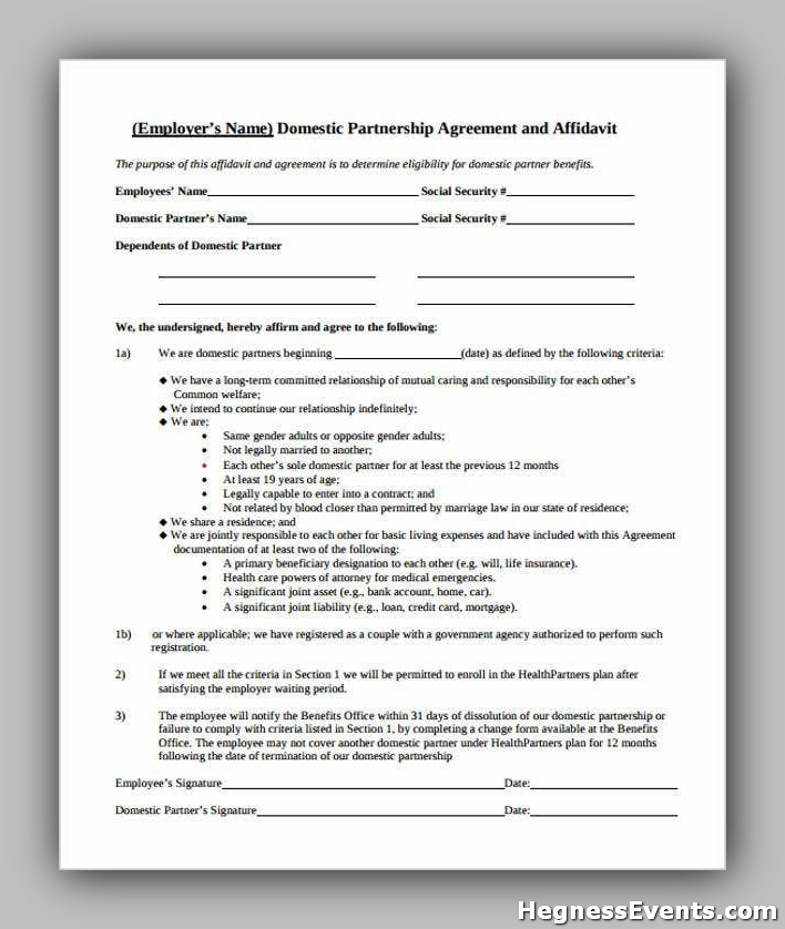 Agreement Form for Domestic Partnership1