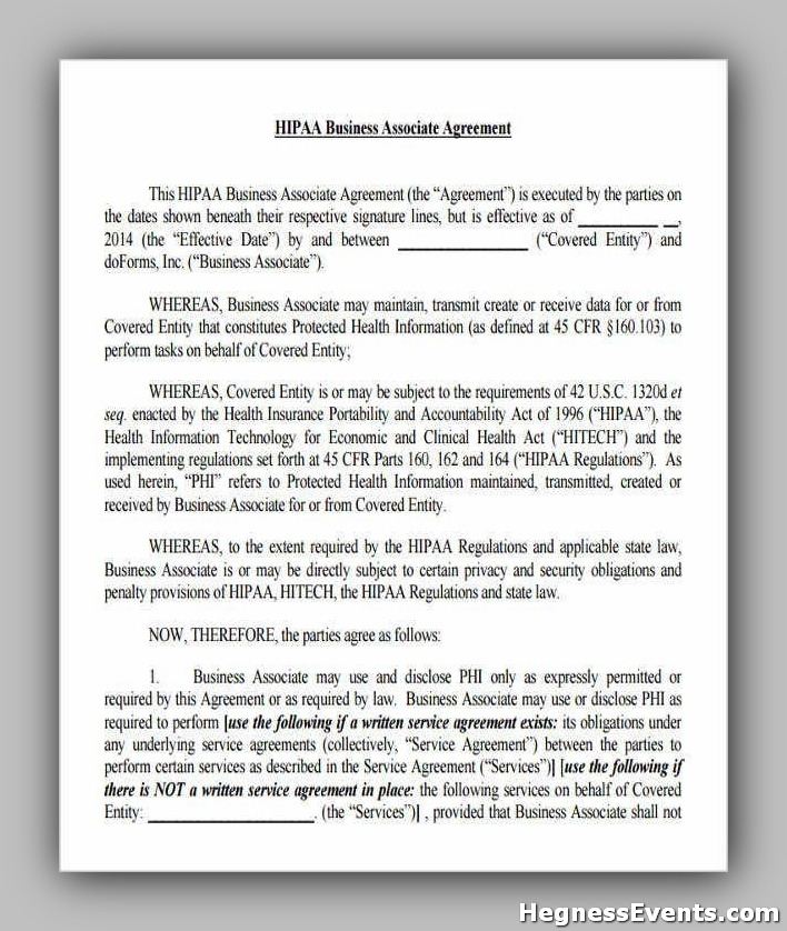 Agreement Form for HIPAA Business