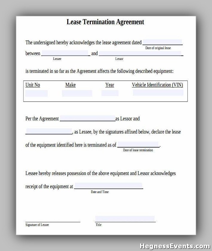 Agreement Form for Lease Termination