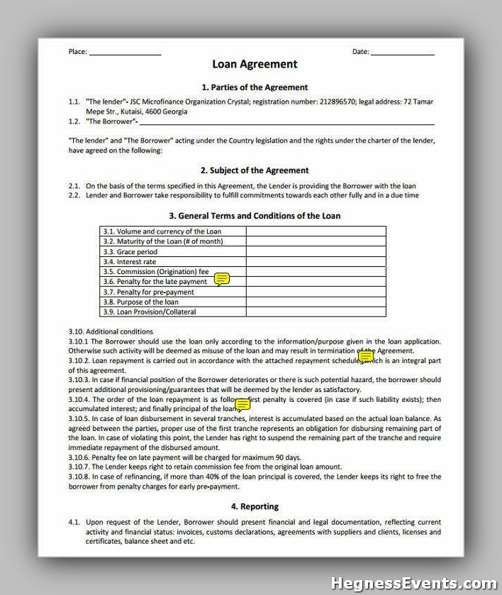 Agreement Form for Loan Repayment