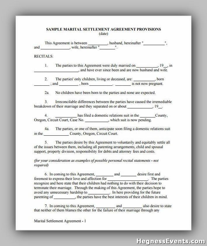 Agreement Form for Marital Settlement