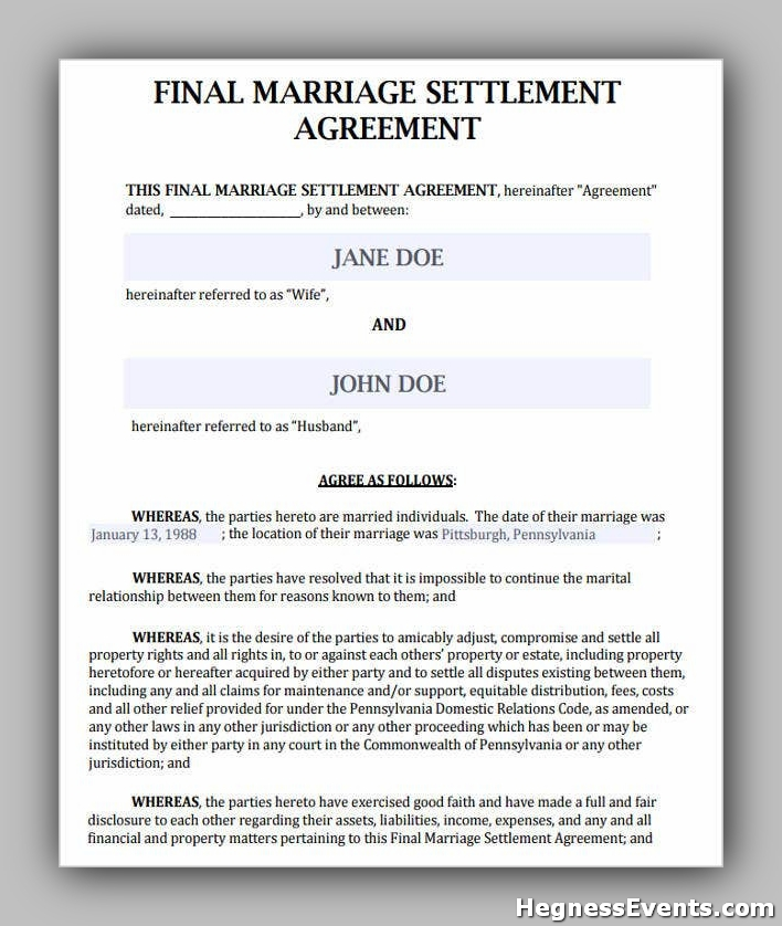 Agreement Form for Marriage Settlement