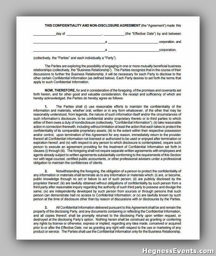 Agreement Form for Non Disclosure Confidentiality