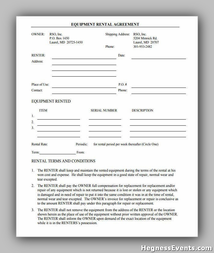 Agreement Form for Rental Equipment
