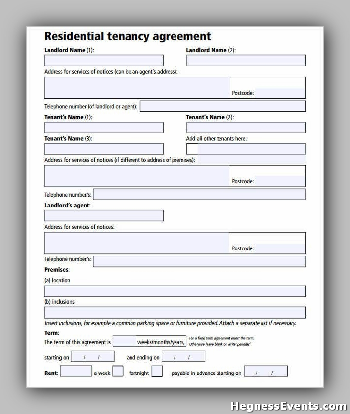 Agreement Form for Residential Tenancy