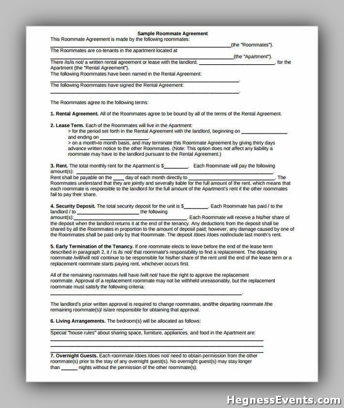 Agreement Form for Roommate Contract
