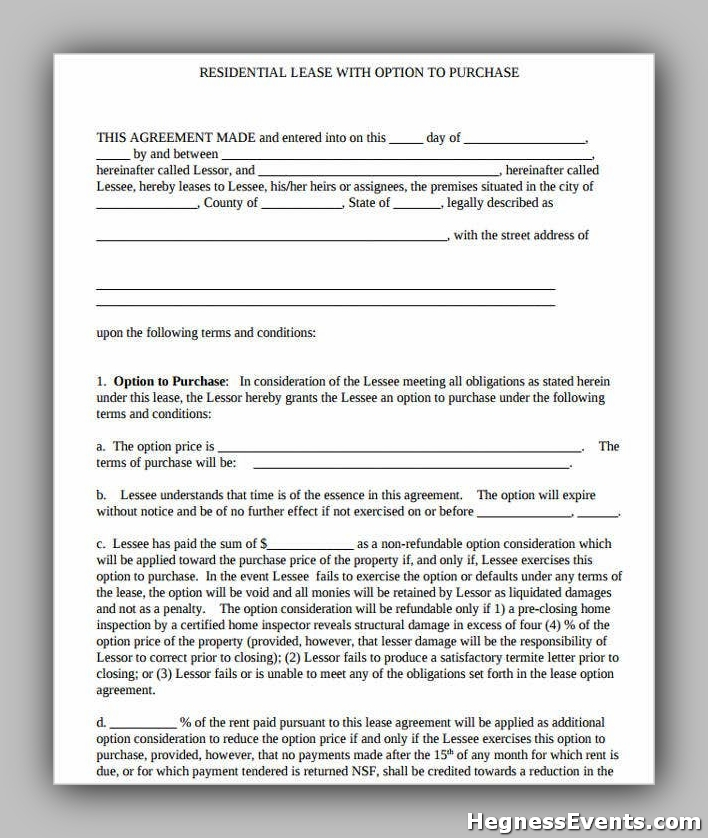 Lease Purchase Agreement Form
