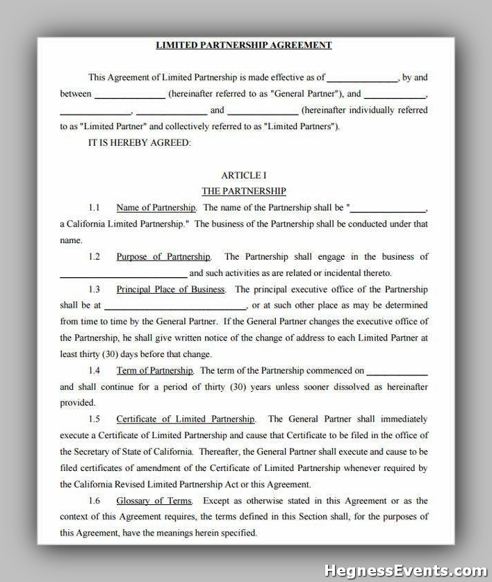 Limited Partnership Agreement Form