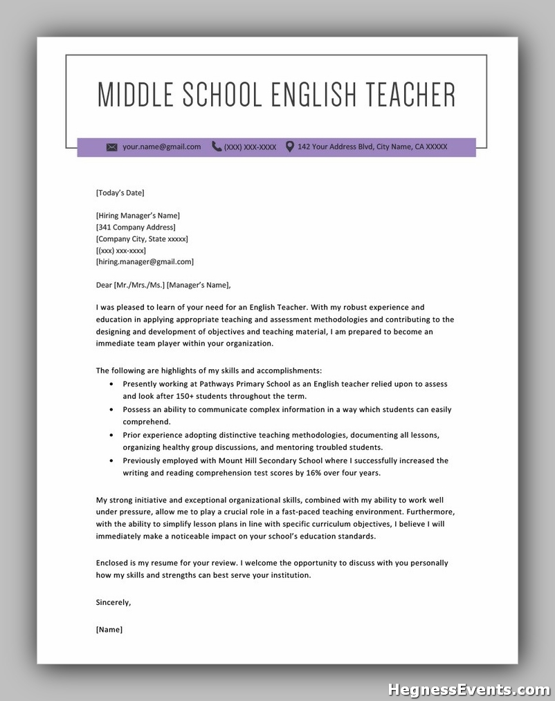 Middle School English Teacher Cover Letter