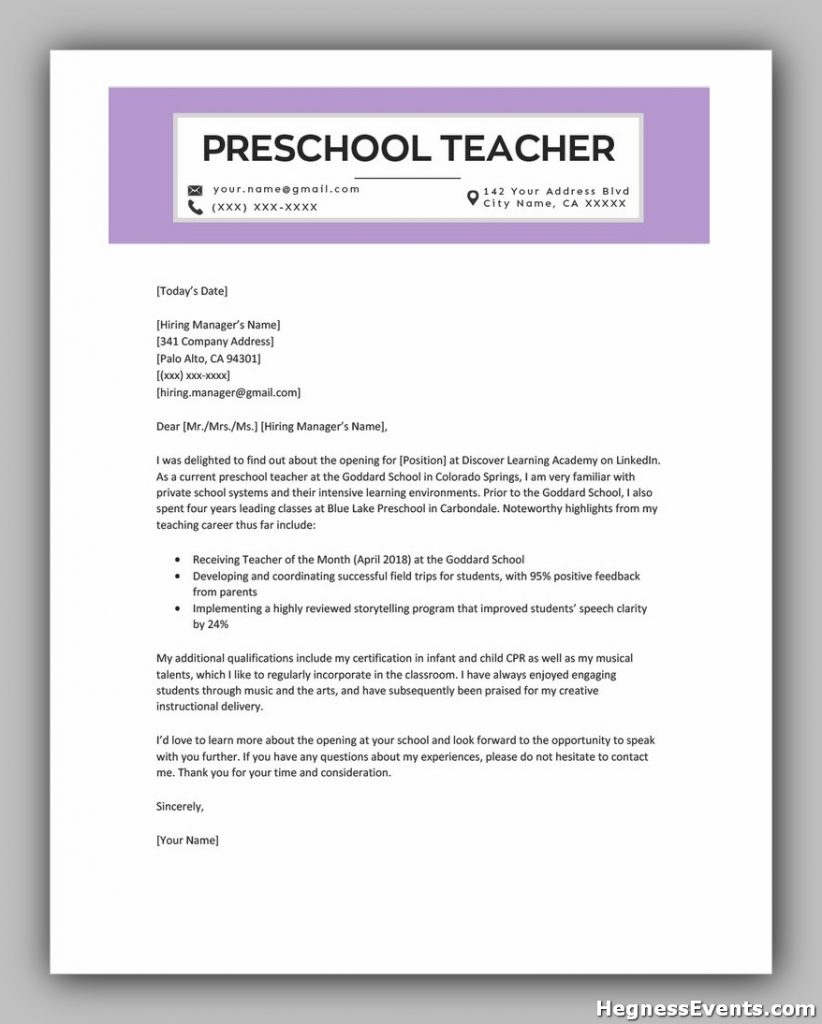 Preschool Teacher Cover Letter Example Template