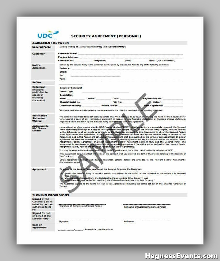 Release of Security Agreement Form