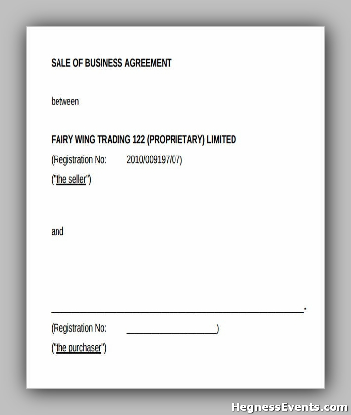 Sale of Business Agreement Form