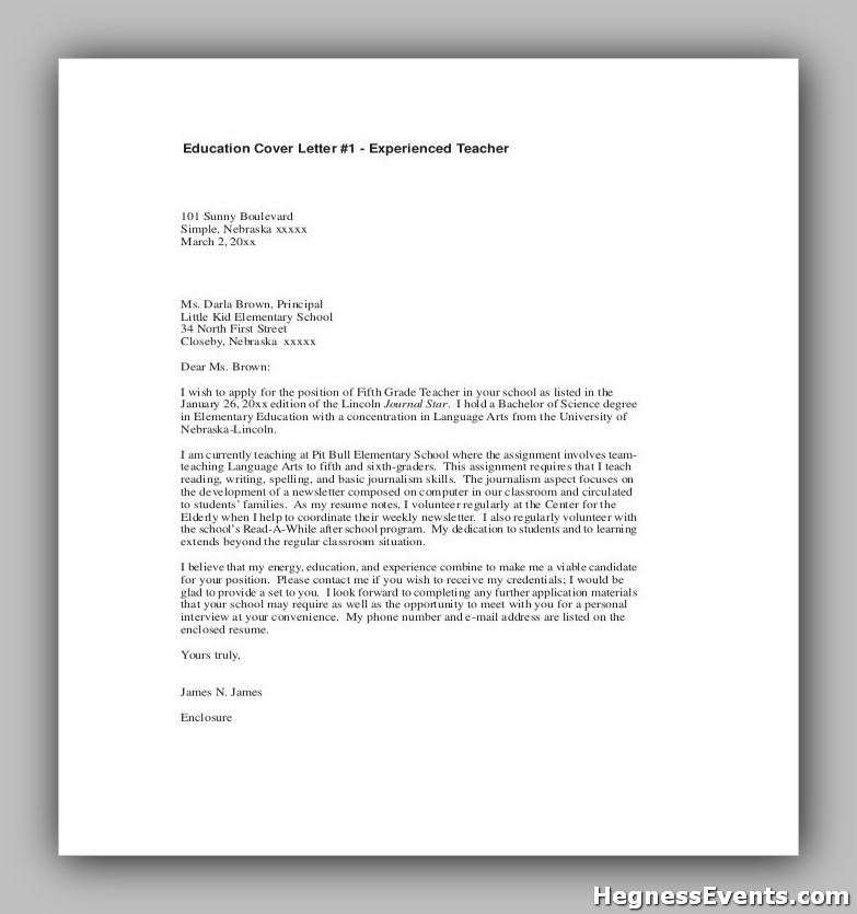 Sample Teacher Cover Letter With Experience