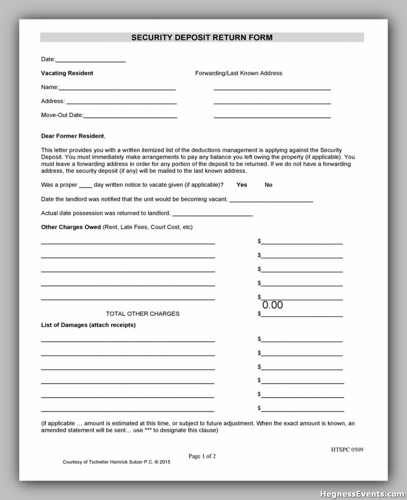 Security Deposit Form 10