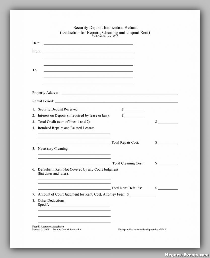 Security Deposit Form 14