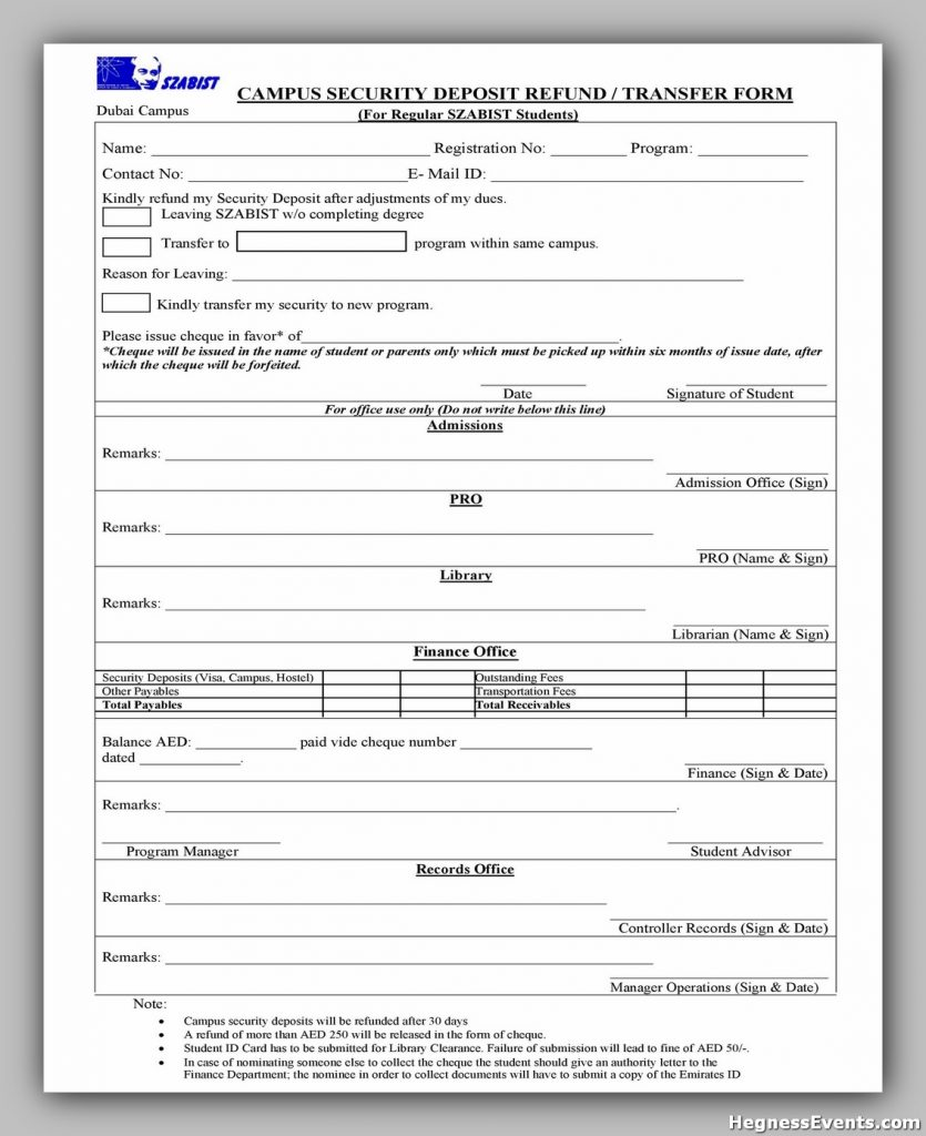 Security Deposit Form 15
