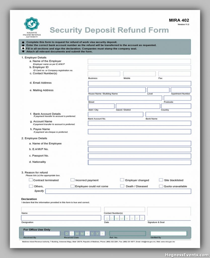 Security Deposit Form 18