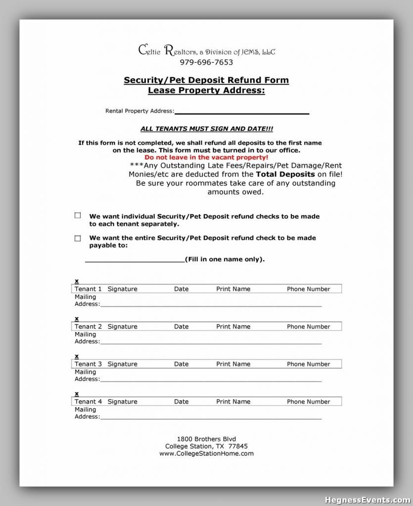 Security Deposit Form 36