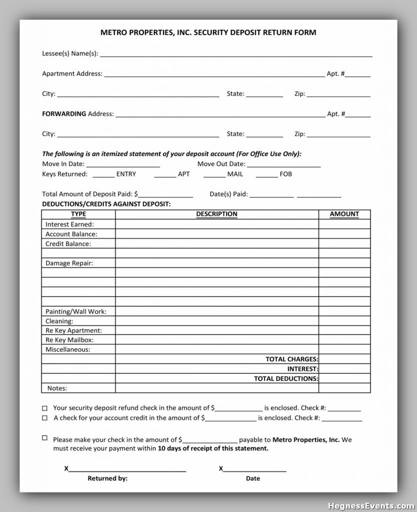 Security Deposit Form 43