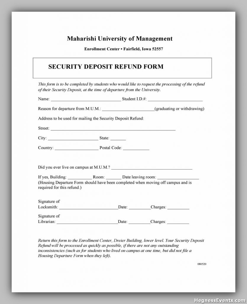 Security Deposit Form 50