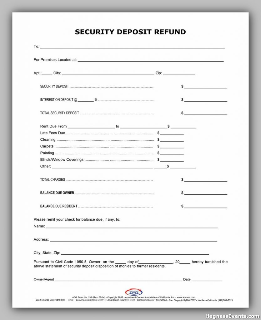 Security Deposit Return Form 19