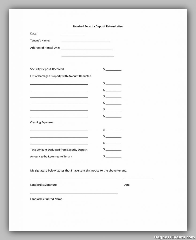 Security Deposit Return Form 20