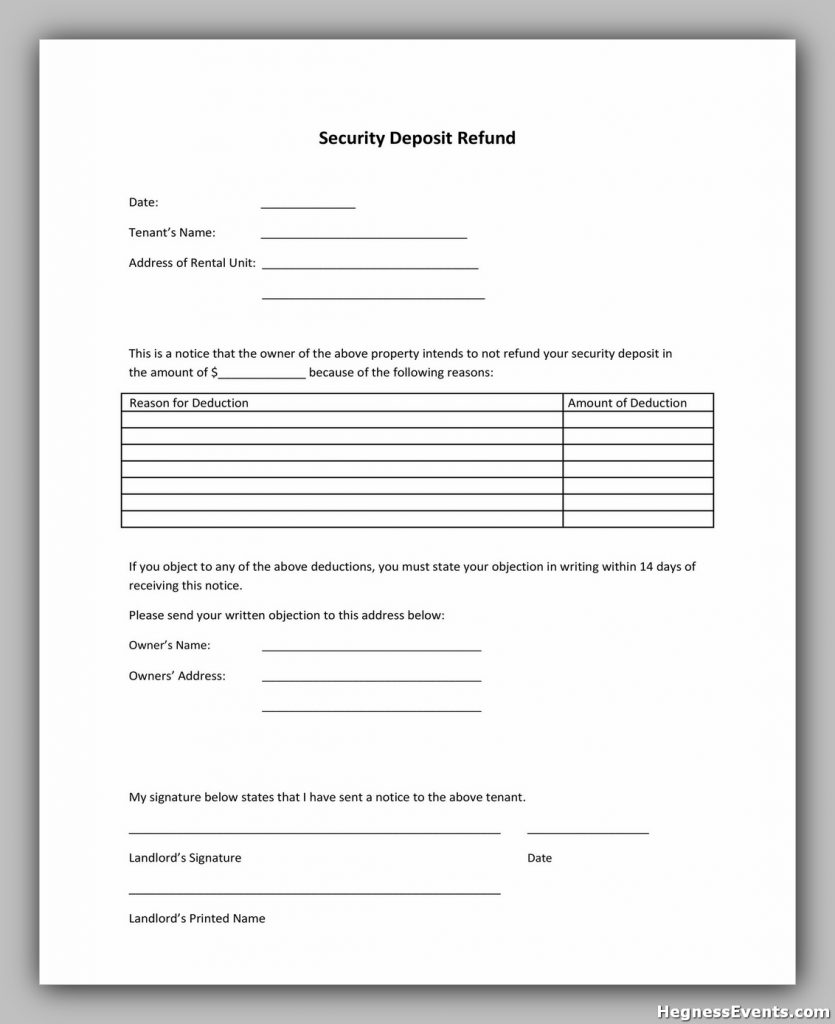 Security Deposit Return Form 21