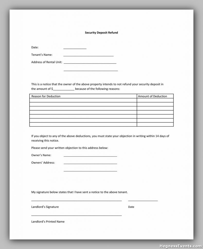 Security Deposit Return Form 22