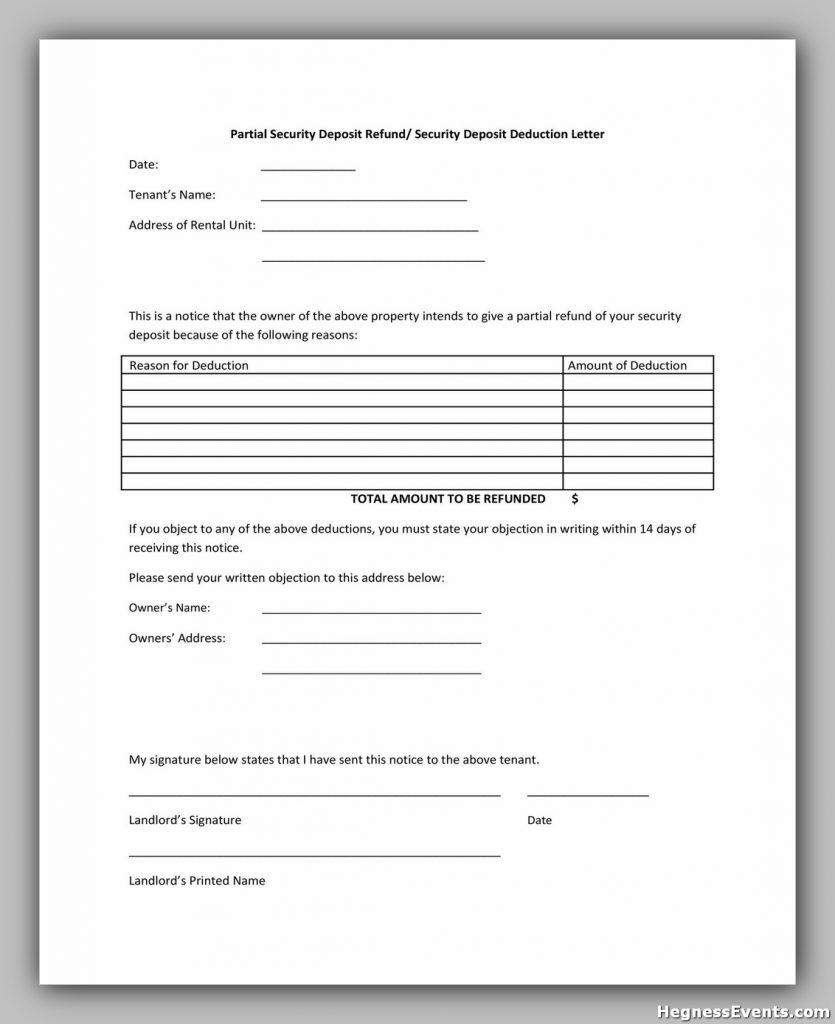 Security Deposit Return Form 24