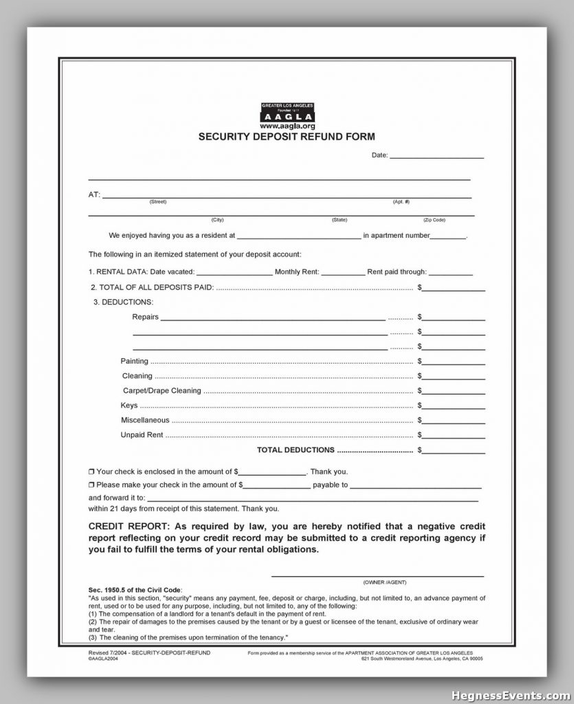 Security Deposit Return Form 25