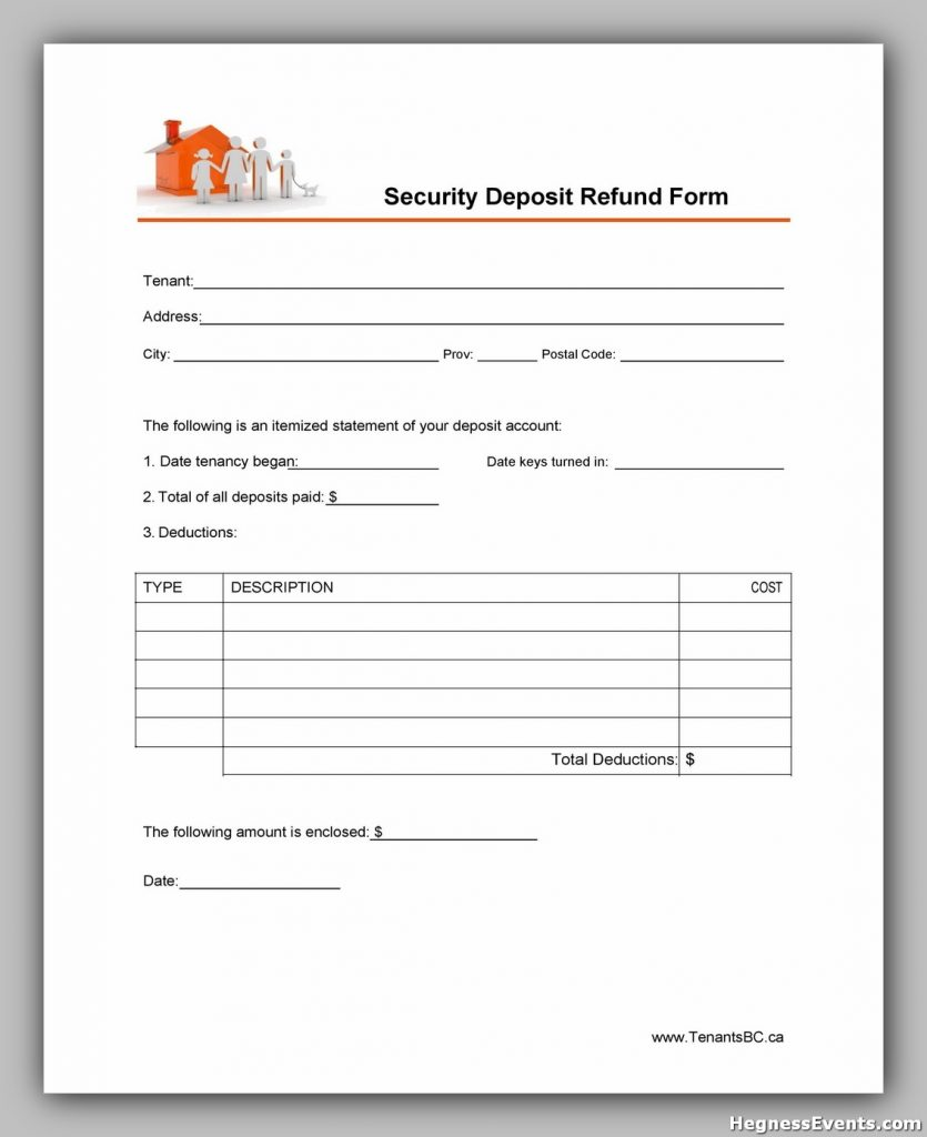 Security Deposit Return Form 26