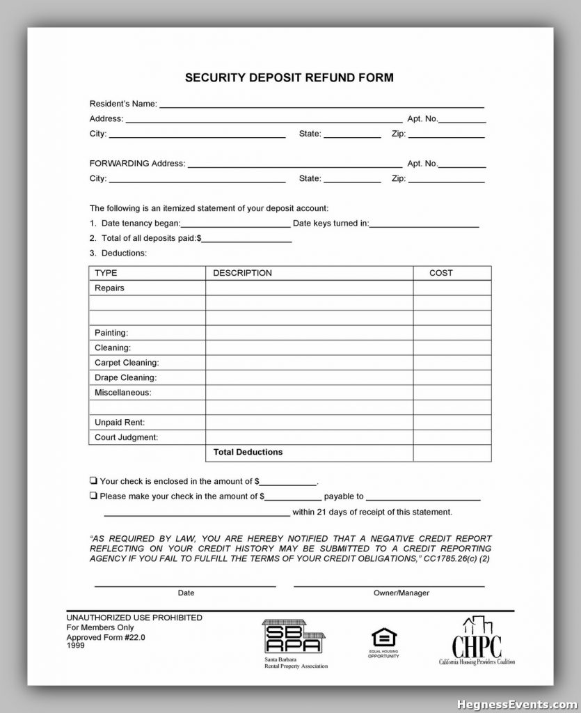 Security Deposit Return Form 27