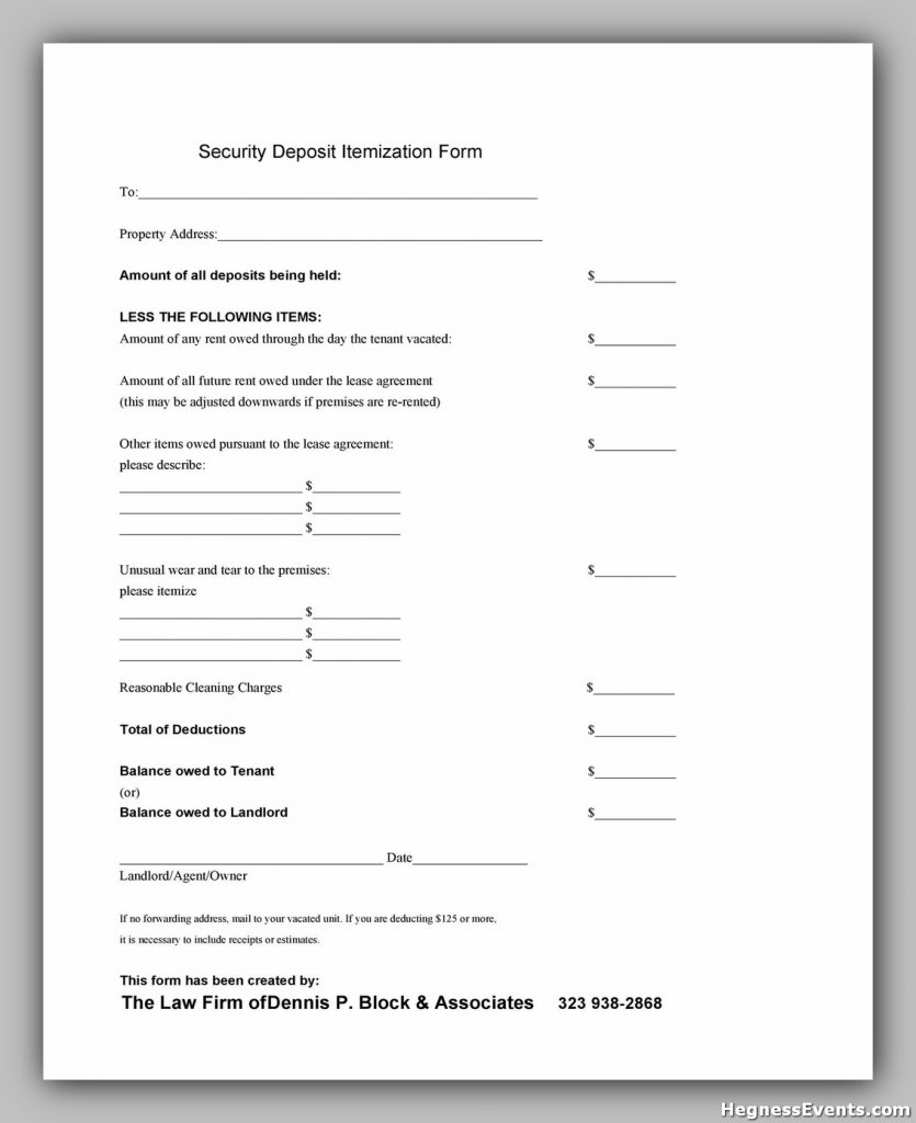 Security Deposit Return Form 28