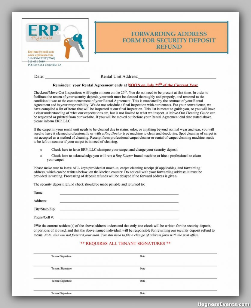 Security Deposit Return Form 30