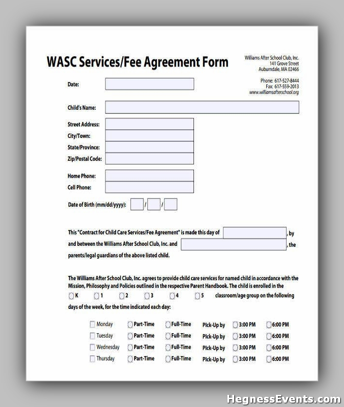 Service Fee Agreement Form