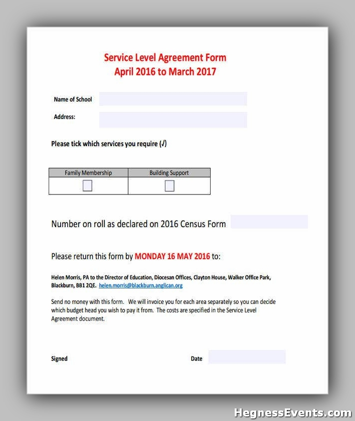 Service Level Agreement Form